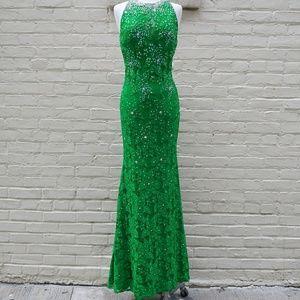 Jovani Size 6 Green Rhinestone Formal Dress